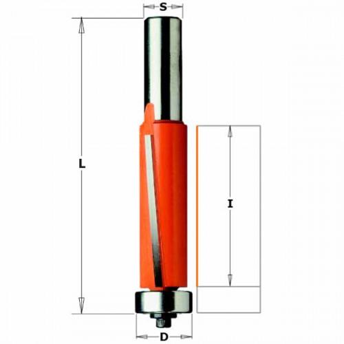 Фреза СМТ пазовая прямая обгонная с нижним подшипником для повышенной нагрузки d12 D19 z2 h38.1 (906.692.11)