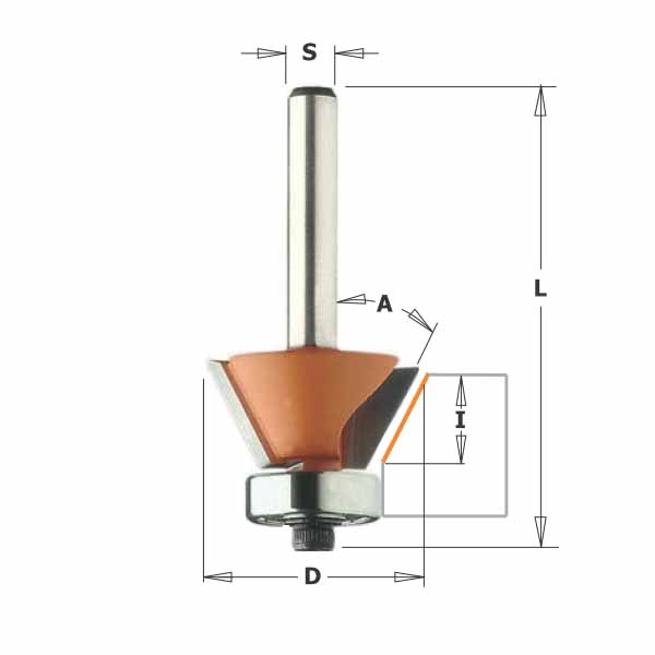 Фреза СМТ для снятия фасок с нижним подшипником d6 D26 L55 z2 h9 O30 (709.260.11)