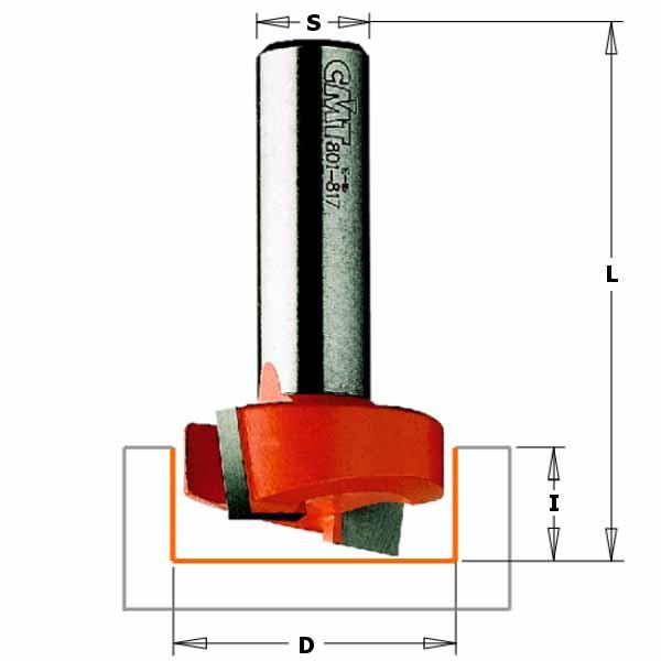 Фреза СМТ для выборки паза под петли d12 D31.7 L54 h12.7 (901.817.11)