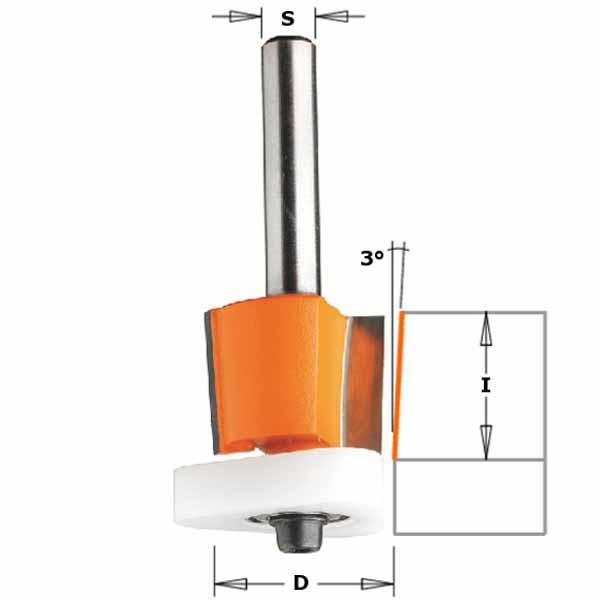 Фреза СМТ обгонная для снятия свесов с нижним подшипником d8 D12.7 h12.7 O3 (907.128.11)