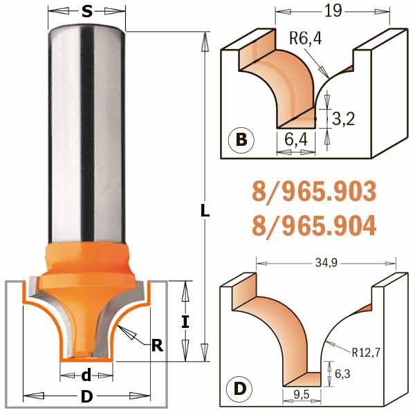 Фреза СМТ пазовая фасонная d12 D19 L51 z2 h13 R6.35 (965.903.11)
