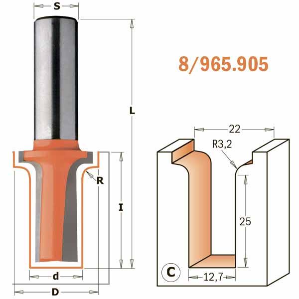 Фреза СМТ пазовая фасонная d12 D22 L69.8 z2 h31.7 R3.2 (965.905.11)
