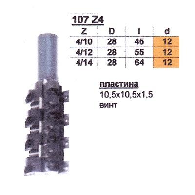 Фреза ГЛОБУС 107 кромочная прямая d12 D28 h45 Z4/10