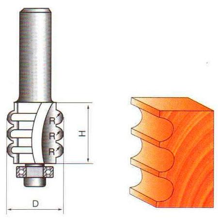 Фреза ГЛОБУС 2503 кромочная фигурная d8 D22 h35 R4