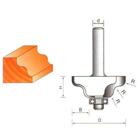 Фреза ГЛОБУС 2030 кромочная калевочная с нижним подшипником d8 D38 h15 R4