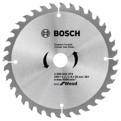 Пильный диск по дереву BOSCH Eco for Wood D160 d20/16 z36