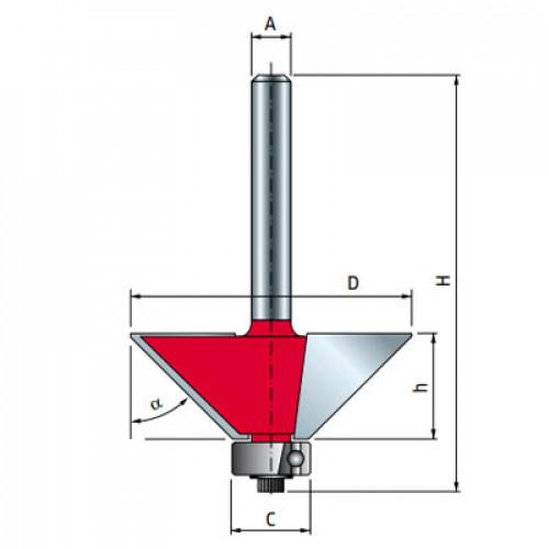 Фреза Freud кромочная конусная d8 D31 h9,5 L52 C12,7 O45° Z2 (40-10508P)