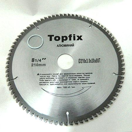 Пильный диск Topfix по алюминию D210 d30 z80