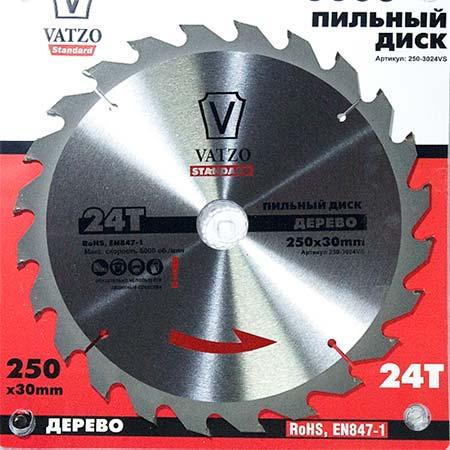 Пильный диск по дереву VATZO standart D254 d30 z40
