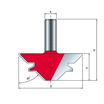 Фреза Freud для углового сращивания d12 D55 h23 L61 O45° Z2 (99-03512P)
