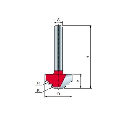 Фреза Freud пазовая фасонная d8 D19 h9,8 R2,4 L41,5 Z2 (39-10008P)