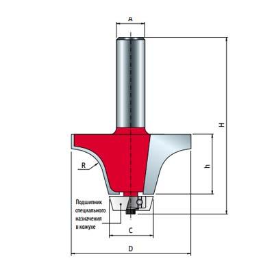 Фреза Freud для скругления по искусственному камню d12 D57,2 h31,8 L80,95 C22,2 Z2 (85-00312P)