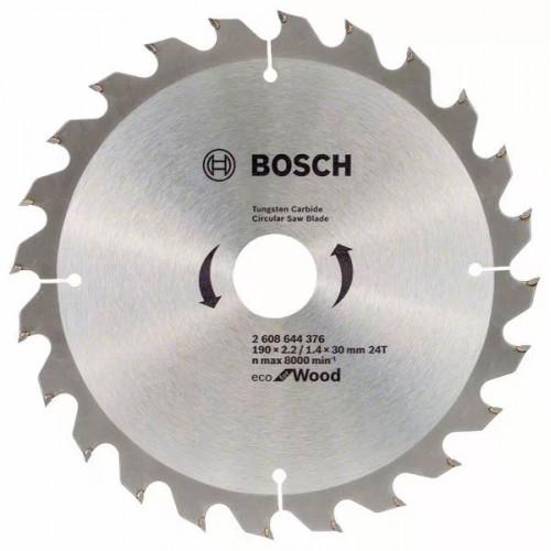 Пильный диск по дереву BOSCH Eco for Wood D190 d30 z24