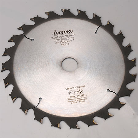 Пильный диск с ТС напайками ІНТЕКС с ограничением подачи D300 d32 z24 3.8*2.6