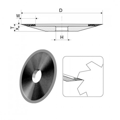 Тарелка алмазная острая (4B2) D125 t10 x2 w6 a20 d32 АС4 125/100 В2-01 П