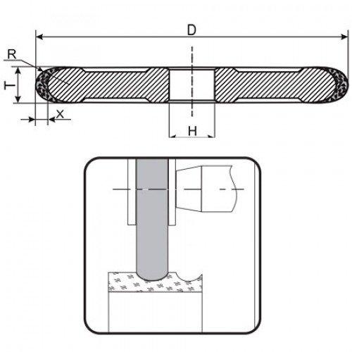 Круг алмазный шлифовальный галтель B1-13 (1FF1) R12 150х24 125/100