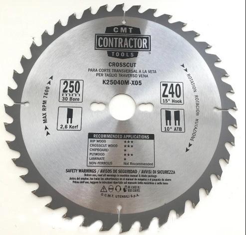 Пильный диск СМТ серия CONTRACTOR поперечный рез D250 d30 z40 (K25040M-X5)