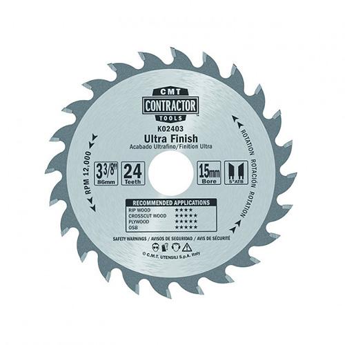 Пильный диск СМТ серия CONTRACTOR чистый рез D85 d15 z24 (K02403)