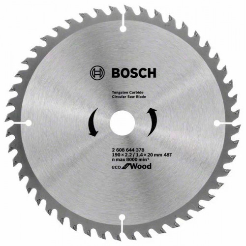 Пильный диск по дереву BOSCH Eco for Wood D190 d20/16 z48