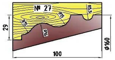 Фреза для изготовления багета 160х32х100 профиль №27
