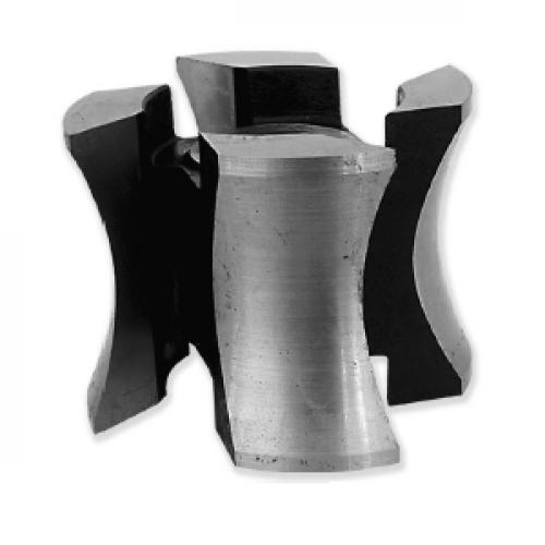 Фреза БЛОК-ХАУС с напайными пластинами Р6М5 для обработки радиуса верхней части обшивочной доски 125x32x60